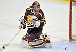2 January 2009: Ferris State Bulldogs' goaltender Taylor Nelson, a Freshman from Regina, Sask., in action against the St. Lawrence Saints during the first game of the 2009 Catamount Cup Ice Hockey Tournament hosted by the University of Vermont at Gutterson Fieldhouse in Burlington, Vermont. The Saints defeated the Bulldogs 5-4 to move onto the championship game against the University of Vermont Catamounts...Mandatory Photo Credit: Ed Wolfstein Photo