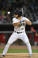 Left fielder Tim Tebow (15) of the Columbia Fireflies bats in a game against the Lakewood BlueClaws on Friday, May 5, 2017, at Spirit Communications Park in Columbia, South Carolina. Lakewood won, 12-2. (Tom Priddy/Four Seam Images)