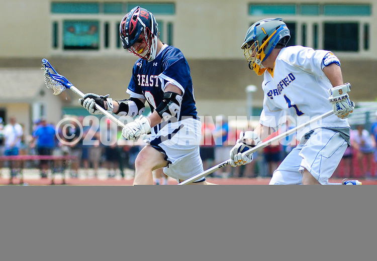 Central Bucks East's Jack Auteri (L) and Springfield's Zac Mettle #1 chase down a loose ball in the third quarter during the PIAA lacrosse quarterfinal playoff at Harrison High School Saturday May 30, 2015 in Bryn Mawr, Pennsylvania. Springfield defeated Central Bucks East 8-3. (Photo by William Thomas Cain/Cain Images)