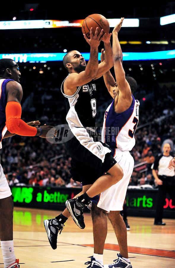 Dec. 15, 2009; Phoenix, AZ, USA; San Antonio Spurs guard (9) Tony Parker shoots a shot against the Phoenix Suns at the US Airways Center. The Suns defeated the Spurs 116-104. Mandatory Credit: Mark J. Rebilas-