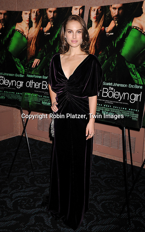 "Natalie Portman in Alberta Ferretti velvet dress.at a special screening of ""The Other Boleyn Girl"" on .February 26, 2008 at The Regal 64th and 2nd Avenue in .New York City. .Robin Platzer, Twin Images..212-935-0770"