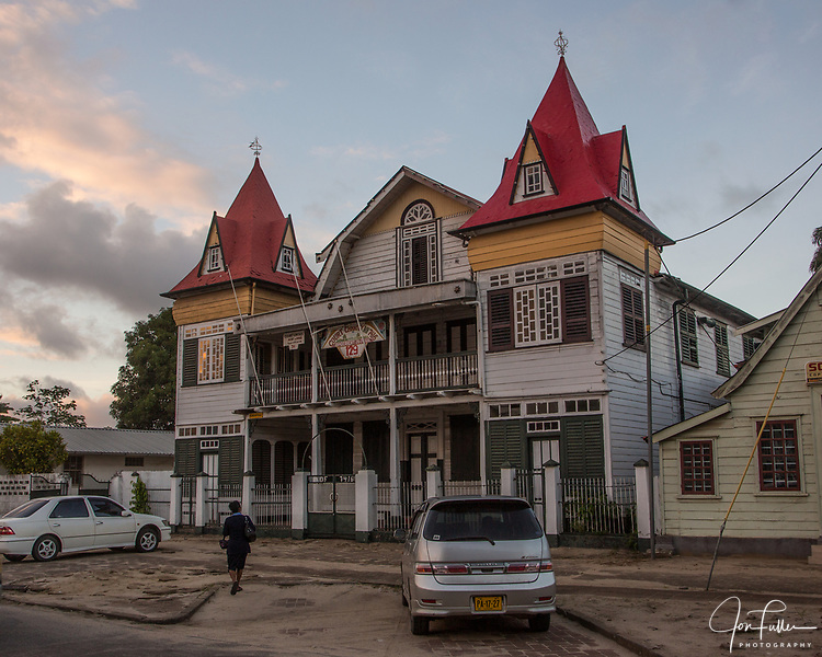 The Court Humanitas building houses the fraternal Foresterie brotherhood in Paramaribo, Suriname.