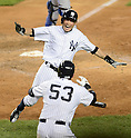 Ichiro Suzuki (Yankees),<br /> AUGUST 20, 2013 - MLB :<br /> Ichiro Suzuki of the New York Yankees celebrates with his teammate Austin Romine after scoring the game winning run in the ninth inning of the second game of their Major League Baseball doubleheader against the Toronto Blue Jays at Yankee Stadium in The Bronx, New York, United States. (Photo by AFLO)