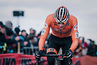an unstoppable Mathieu Van Der Poel (NED/Correndon-Circus) on his way to a well deserved rainbow jersey<br /> <br /> Men&rsquo;s Elite race<br /> <br /> UCI 2019 Cyclocross World Championships<br /> Bogense / Denmark<br /> <br /> &copy;kramon