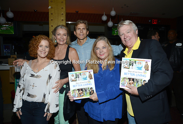 Liz Keifer, Denise Pence, Grant Aleksander, Elvera Roussel and Jerry verDorn attend Daytime Stars and Strikes Charity Event benefitting The American Cancer Society on October 13, 2013 at Bowlmore Lanes in Time Square in New York City.