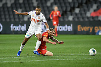 30th July 2020; Bankwest Stadium, Parramatta, New South Wales, Australia; A League Football, Adelaide United versus Perth Glory; James Meredith of Perth Glory brings down Riley McGree of Adelaide United just outside the penalty area