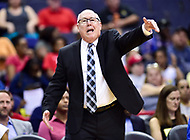 Washington, DC - June 15, 2018: Washington Mystics head coach Mike Thibault yells out instructions from the sideline during game between the Washington Mystics and New York Liberty at the Capital One Arena in Washington, DC. (Photo by Phil Peters/Media Images International)