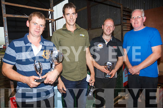 Shearers PJ Browne, world record holder Ivan Scott, Denis O'Sullivan and at the Sheep Shearing prize giving on Sunday.