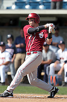 Max White (7) of the Oklahoma Sooners bats against the Pepperdine Waves at Eddy D. Field Stadium on February 18, 2012 in Malibu,California. Pepperdine defeated Oklahoma 10-0.(Larry Goren/Four Seam Images)