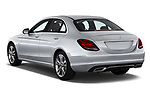 Car pictures of rear three quarter view of a 2018 Mercedes Benz C-Class Sedan C350e Plug-in Hybrid 4 Door Sedan angular rear
