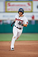 Rochester Red Wings second baseman Taylor Featherston (8) runs the bases during a game against the Pawtucket Red Sox on May 19, 2018 at Frontier Field in Rochester, New York.  Rochester defeated Pawtucket 2-1.  (Mike Janes/Four Seam Images)