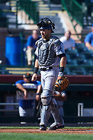 Surprise Saguaros catcher Brett Sullivan (13), of the Tampa Bay Rays organization, during an Arizona Fall League game against the Scottsdale Scorpions on October 27, 2017 at Scottsdale Stadium in Scottsdale, Arizona. The Scorpions defeated the Saguaros 6-5. (Zachary Lucy/Four Seam Images)