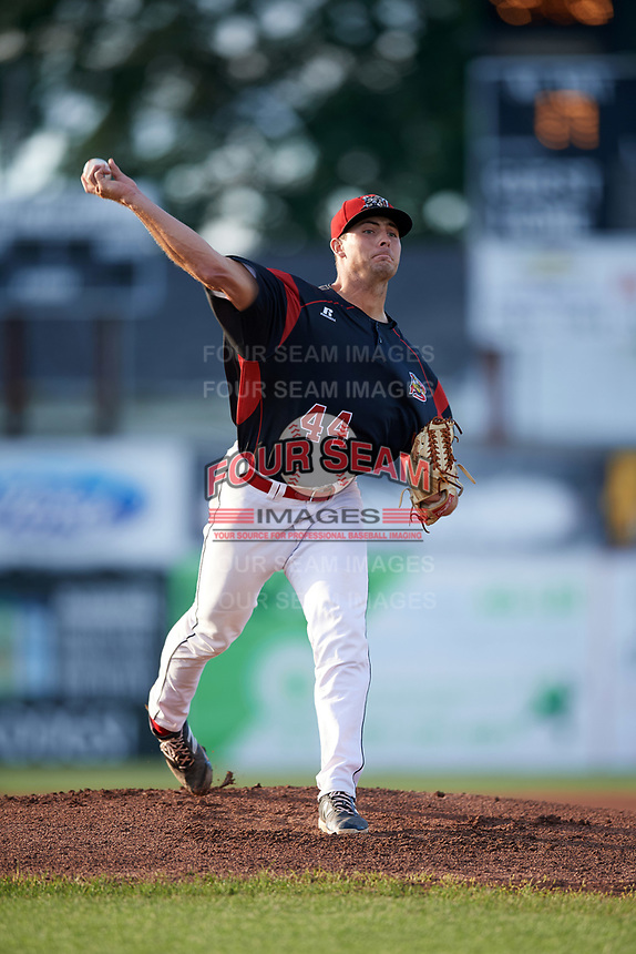 Batavia Muckdogs starting pitcher Sam Perez (44) delivers a warmup pitch during a game against the West Virginia Black Bears on August 5, 2017 at Dwyer Stadium in Batavia, New York.  Batavia defeated West Virginia 3-2.  (Mike Janes/Four Seam Images)