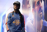 Marvin Emnes of Swansea City arrives before the Barclays Premier League match between Leicester City and Swansea City played at The King Power Stadium, Leicester on April 24th 2016