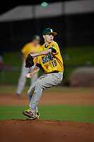 Siena Saints pitcher Mike McCully (18) during a game against the UCF Knights on February 14, 2020 at John Euliano Park in Orlando, Florida.  UCF defeated Siena 2-1.  (Mike Janes/Four Seam Images)