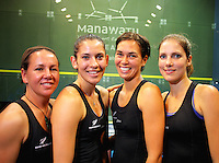 The NZ team, from left, Tamsyn Leevey, Joelle King, Shelley Kitchen and Jaclyn Hawkes. Women's World Squash Teams pool play at International Pacific College, Palmerston North, New Zealand on Monday, 29 November 2010. Photo: Dave Lintott / lintottphoto.co.nz