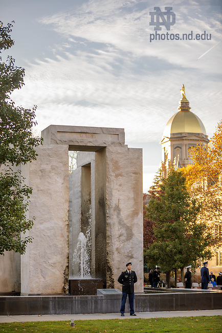 November 9, 2016; Veterans Day vigil at Clarke Memorial Fountain, commonly known as Stonehenge. (Photo by Peter Ringenberg/University of Notre Dame)