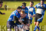 Action as the Tralee RFC  forwards stop the Thomond threat in the Munster Junior Cup in O'Dowd Park on Sunday last.