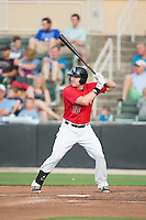 Mason Robbins (10) of the Kannapolis Intimidators at bat against the Delmarva Shorebirds at CMC-Northeast Stadium on June 6, 2015 in Kannapolis, North Carolina.  The Shorebirds defeated the Intimidators 7-2.  (Brian Westerholt/Four Seam Images)