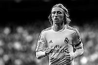 Real Madrid's Luka Modric during La Liga match between Real Madrid and Osasuna at Santiago Bernabeu stadium in Madrid, Spain. April 26, 2014. (ALTERPHOTOS/Caro Marin)(EDITORS NOTE: This image has been converted to black and white)