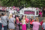© Joel Goodman - 07973 332324 . 09/08/2013 . Salford , UK . The pink coffin arrives at the church in a horse drawn hearse . The funeral of Linzi Ashton at St Paul's C of E Church in Salford , today (9th August 2013) . Linzi Ashton (25) was found murdered in her home on Westbourne Road in Salford on 29th June . Michael Cope is standing trial, accused of murdering, raping and assaulting her . Photo credit : Joel Goodman