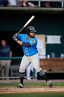 Akron RubberDucks first baseman Nellie Rodriguez (7) at bat during a game against the Harrisburg Senators on August 18, 2018 at FNB Field in Harrisburg, Pennsylvania.  Akron defeated Harrisburg 5-1.  (Mike Janes/Four Seam Images)