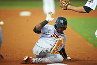 Jupiter Hammerheads left fielder Yuniel Ramirez (14) slides into third base during a game against the Lakeland Flying Tigers on March 14, 2016 at Henley Field in Lakeland, Florida.  Lakeland defeated Jupiter 5-0.  (Mike Janes/Four Seam Images)