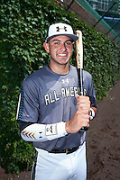 Gregory Veliz (0) of North Broward Prep in Key West, Florida poses for a photo before the Under Armour All-American Game on August 15, 2015 at Wrigley Field in Chicago, Illinois. (Mike Janes/Four Seam Images)