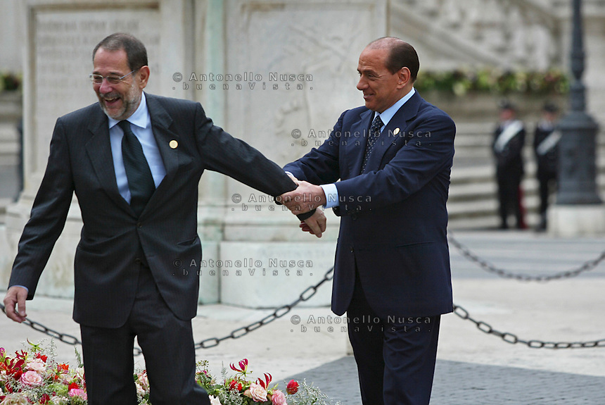 Roma, 29 ottobre, 2004. Firma della Costituzione Europea in Campidoglio. Berlusconi con il Primo Ministro Olandese Jan Peter Balkinende e Javier Solana