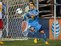 March 10th, 2013: Luis Robles readies to catch the ball away from the goalpost during a game at Buck Shaw Stadium, Santa Clara, Ca.   Earthquakes defeated Red Bulls 2-1