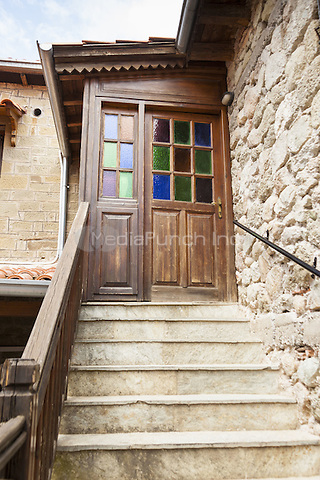 Steps and door at the Holy Monastery of Varlaam, Meteora, Thessaly, Greece <br /> CAP/MEL<br /> &copy;MEL/Capital Pictures /MediaPunch ***NORTH AND SOUTH AMERICA ONLY***