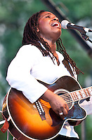 Ruthie Foster and her band playing at the 2010 Blues and BBQ Festival in New Orleans.