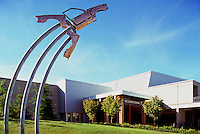 "Haida Aboriginal Art outside Doug Mitchell Thunderbird Sports Centre, University of British Columbia (UBC), Vancouver, BC, British Columbia, Canada - Contemporary Sculpture entitled ""Take-Off"" aka ""Take Off"" (artist - Michael Nicoll Yahgulanaas) - made from Recycled Car Parts to resemble Mallard Duck taking Flight"