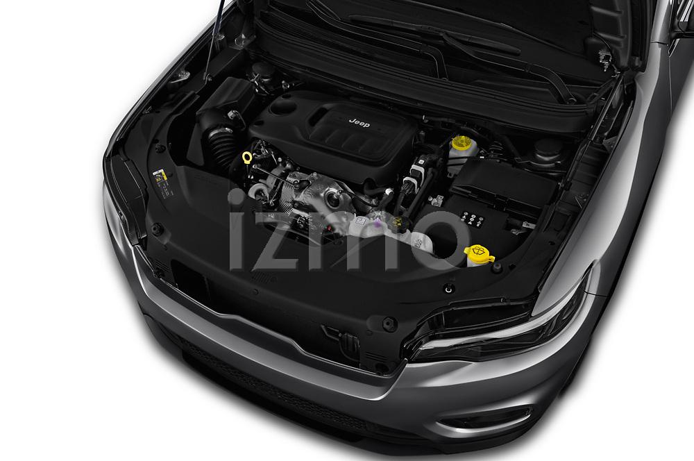 Car stock 2019 Jeep Cherokee Latitude Plus 4X4 5 Door SUV engine high angle detail view
