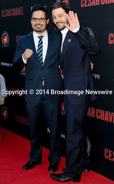 Pictured: Michael Pena, Diego Luna<br /> Mandatory Credit &copy; Adhemar Sburlati/Broadimage<br /> Film Premiere of Cesar Chavez<br /> <br /> 3/20/14, Hollywood, California, United States of America<br /> <br /> Broadimage Newswire<br /> Los Angeles 1+  (310) 301-1027<br /> New York      1+  (646) 827-9134<br /> sales@broadimage.com<br /> http://www.broadimage.com
