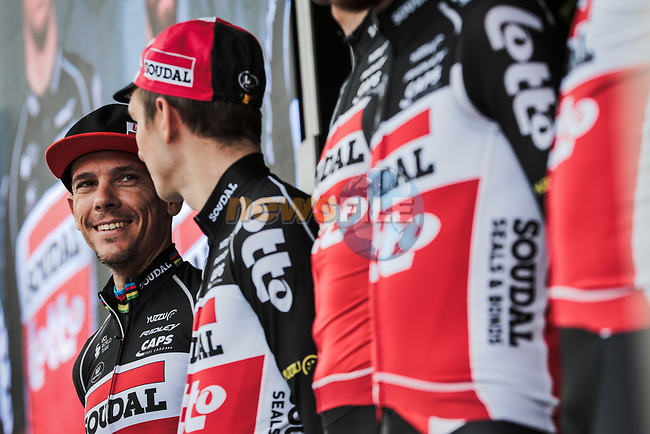 Philippe Gilbert (BEL) and Lotto-Soudal at sign on before Stage 5 of the 78th edition of Paris-Nice 2020, running 227km from Gannat to La Cote-Saint-Andre, France. 12th March 2020.<br /> Picture: ASO/Fabien Boukla   Cyclefile<br /> All photos usage must carry mandatory copyright credit (© Cyclefile   ASO/Fabien Boukla)