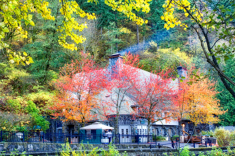 Multnomah Falls Lodge in fall with chimney smoke. Columbia River Gorge National Scenic Area. Oregon