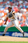 30 June 2005: Salomon Torres, pitcher for the Pittsburgh Pirates, pitched one inning, giving up a run in a game against the Washington Nationals. The Nationals defeated the Pirates 7-5 to sweep the 3-game series at RFK Stadium in Washington, DC.  Mandatory Photo Credit: Ed Wolfstein