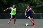 CARY, NC - MAY 04: Samantha Witteman (26) and Ashley Hatch (left). The North Carolina Courage held a training session on May 4, 2017, at WakeMed Soccer Park Field 6 in Cary, NC.
