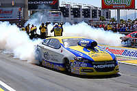 Mar 28, 2014; Las Vegas, NV, USA; NHRA pro stock driver Allen Johnson during qualifying for the Summitracing.com Nationals at The Strip at Las Vegas Motor Speedway. Mandatory Credit: Mark J. Rebilas-