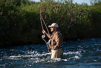 150620-JRE-7981E-0117 Cal Trout, a teacher and quail hunting guide from Mississippi, casts his grandfather's split cane bamboo fly rod for the first time as he fishes an interior Alaska stream for Arctic Grayling.