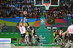 (L-R) Deniz Acar (TUR), Daisuke Tsuchiko (JPN), <br /> SEPTEMBER 8, 2016 - Wheelchair Basketball : <br /> Preliminary Round Group A<br /> match between Turkey 65-49 Japan<br /> at Carioca Arena 1<br /> during the Rio 2016 Paralympic Games in Rio de Janeiro, Brazil.<br /> (Photo by AFLO SPORT)