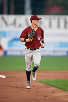 Mahoning Valley Scrappers right fielder Clark Scolamiero (11) jogs back to the dugout during a game against the Williamsport Crosscutters on August 28, 2018 at BB&T Ballpark in Williamsport, Pennsylvania.  Williamsport defeated Mahoning Valley 8-0.  (Mike Janes/Four Seam Images)