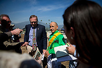 ARCADIA, CA - MARCH 11: Jockey, Mike Smith talks with the media after the San Felipe Stakes at Santa Anita Park before being vanned off with an injury, on March 11, 2017 in Arcadia, California. (Photo by Alex Evers/Eclipse Sportswire/Getty Images)
