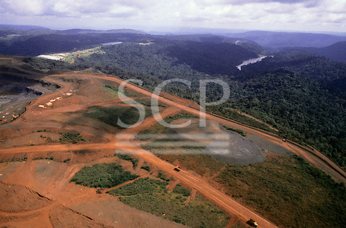 Carajas, Para State, Brazil. Aerial view of huge opencast iron ore mine.