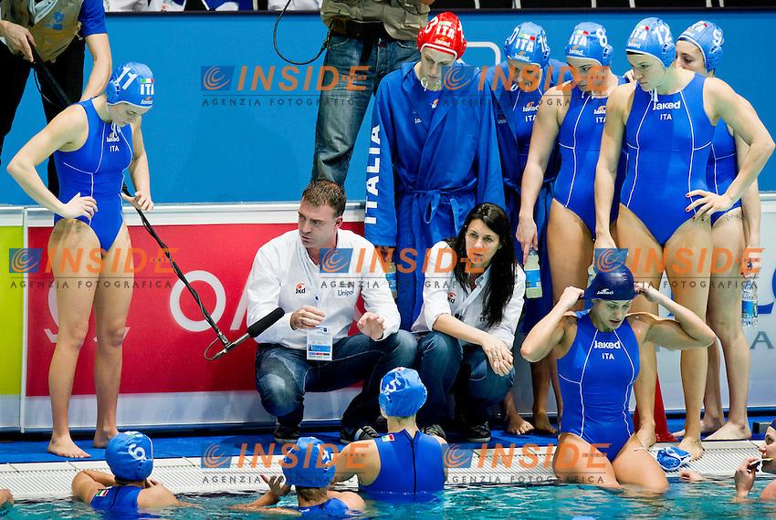 Eindhoven , Netherlands (NED) 16 - 29 January 2012.LEN European  Water Polo Championships 2012.Day 07 - Women.Germany (White) - Italia (Blue)..ITA..Team.Photo Insidefoto / Giorgio Scala