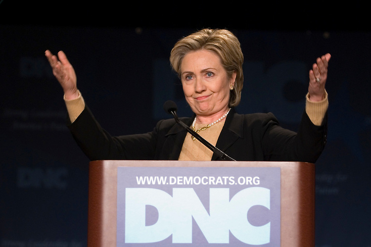Sen. Hillary Clinton, D-N.Y., speaks during the Democratic National Committee winter meeting at the Washington Hilton on Friday, Feb. 2, 2007.