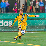 15 November 2015: University of Vermont Catamount Defender Jack Shea, a Senior from East Montpelier, VT, in action against the Binghamton University Bearcats at Virtue Field in Burlington, Vermont. The Catamounts shut out the Bearcats 1-0 in the America East Championship Game. Mandatory Credit: Ed Wolfstein Photo *** RAW (NEF) Image File Available ***
