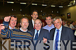 Fine Gael celebrate Sean Kelly huge vote in the European election at the Kerry County Council Killarney area election count in the Aura Sports Centre in Killarney on Saturday l-r: Cllr John Sheahan, Sean Kelly, Patrick O'Connor-Scarteen, Senator Paul Coughlan, Tom Sheahan TD and PJ Donegan