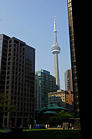 The CN Tower between buildings of the Toronto Dominion Centre between King Street West and wellington  in downtown Toronto... Designed by Architect Ludwig Mies Van Der Roche and build between 1967 and 1969.......    photo by Pierre Roussel - Images Distribution